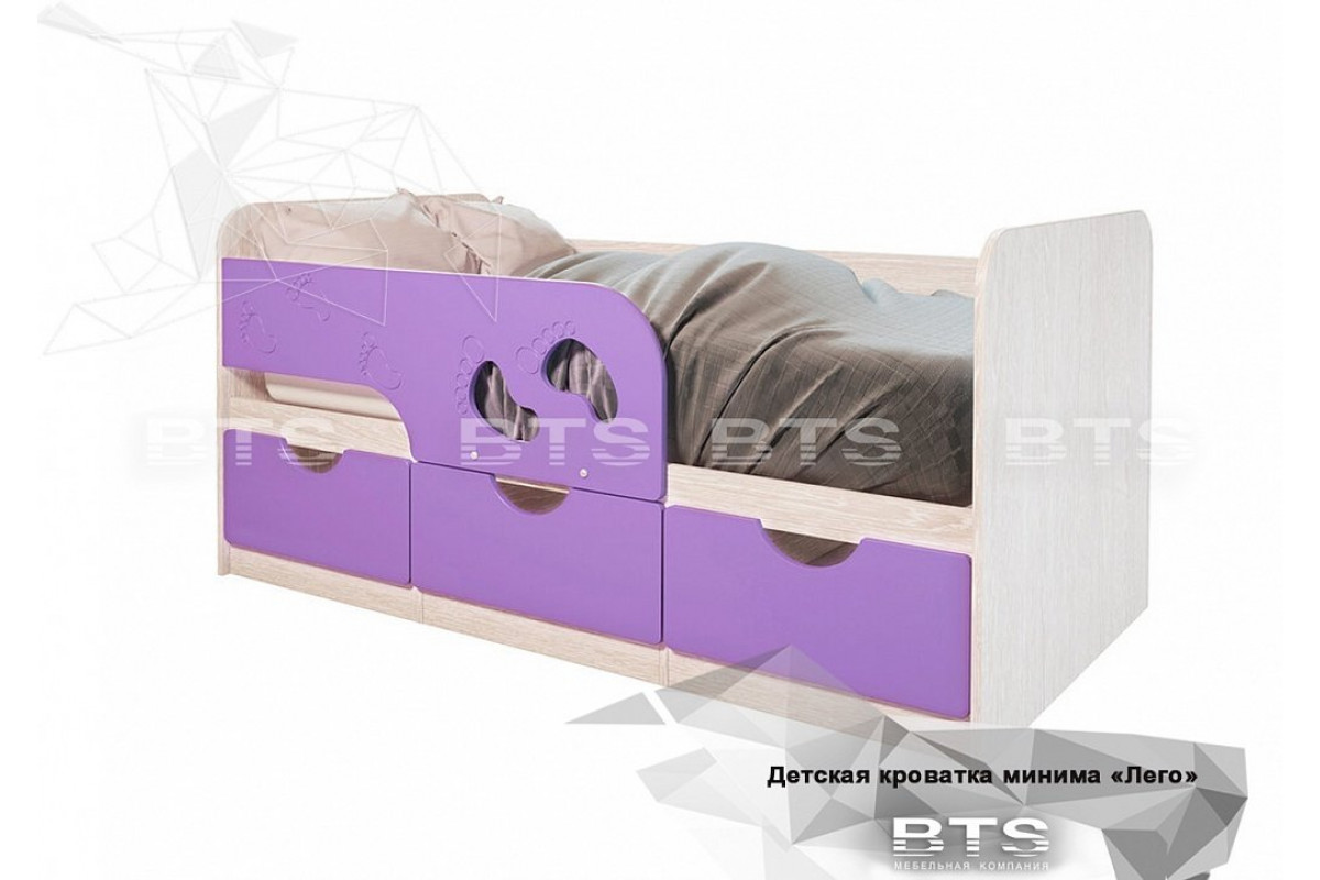 Кровать детская Минима Лего - Лиловый сад