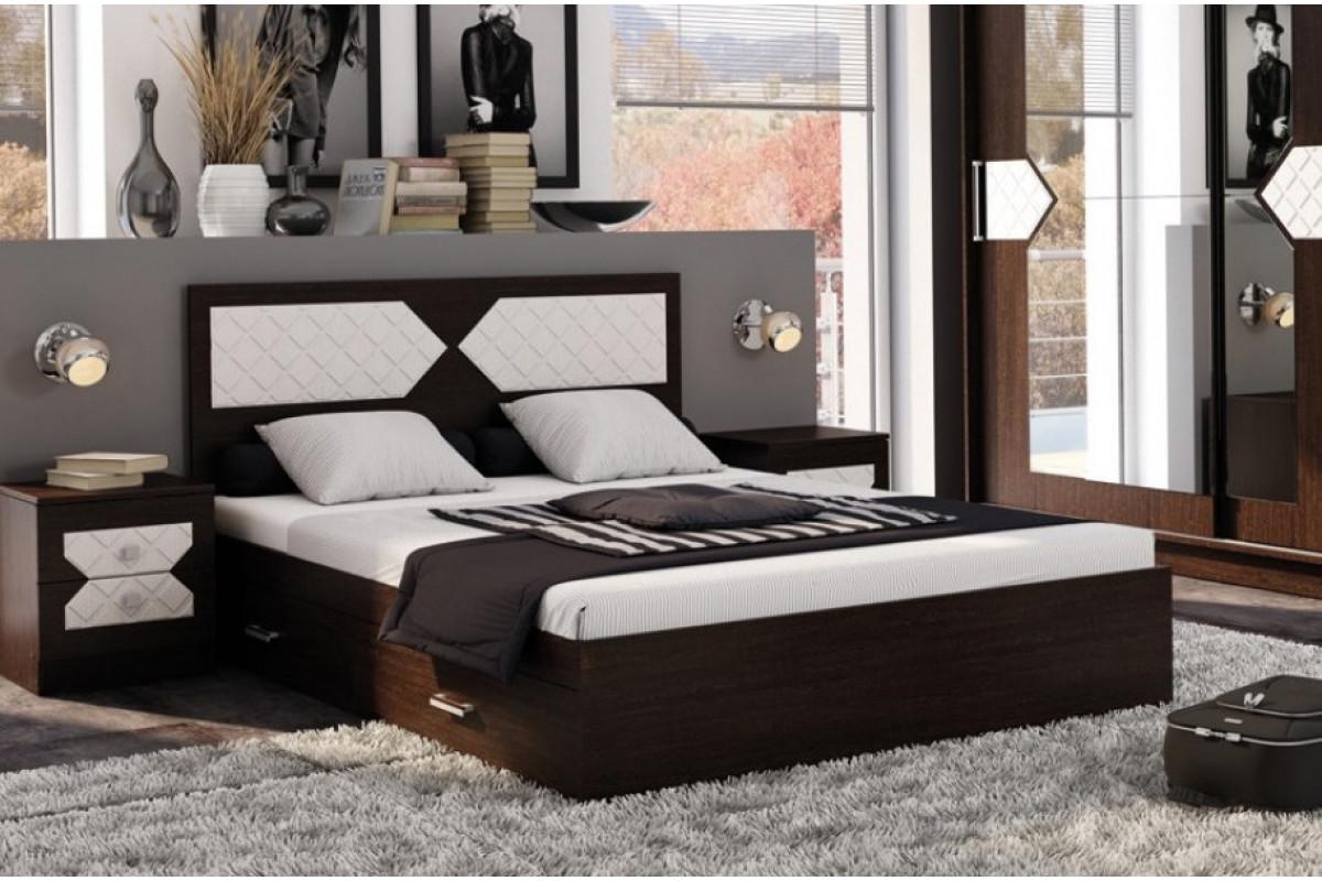 Кровать НИКОЛЬ 1,6 Венге-Лиственница светлая