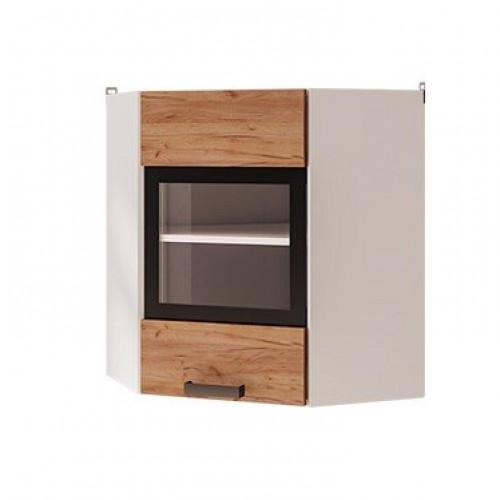 6ув2 - Шкаф настенный угловой со стеклом (600*720*600)