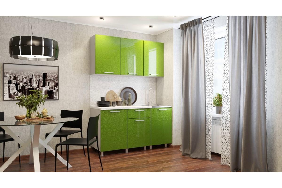 Кухня 1,5м - блестки Олива
