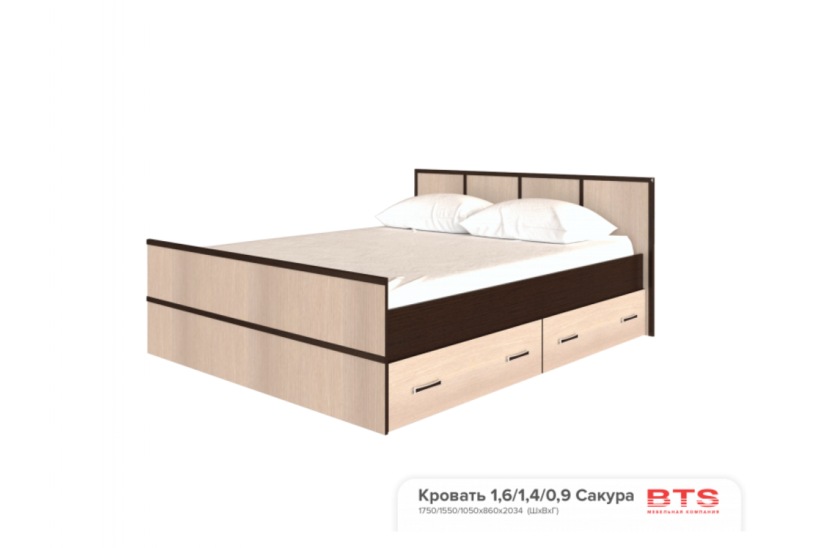 """""""Сакура"""" кровать 1,6м (1750х860х2034)"""